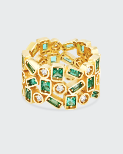 SUZANNE KALAN  18K Yellow Gold Inlay Collection Emerald Ring, Size 7  $7,200