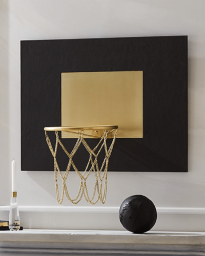 CB2  grey leather and brass basketball hoop  $399