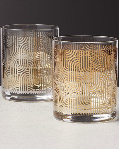 CB2  metallic double old-fashioned glasses  $12 each