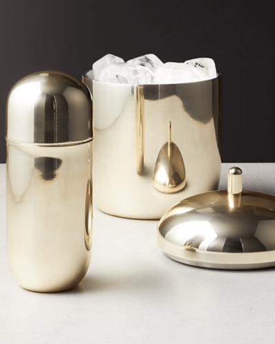CB2  mae champagne gold cocktail shaker  $25