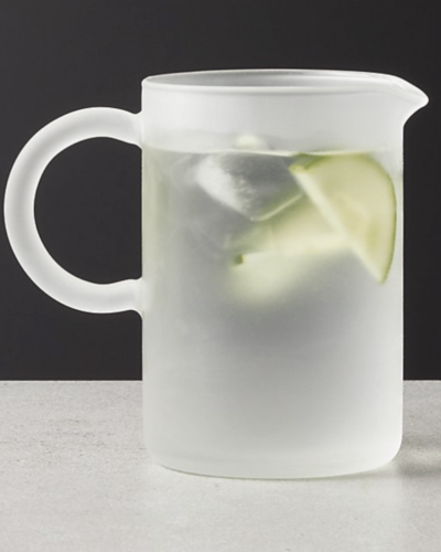 CB2  manual frosted glass mixing pitcher  $30