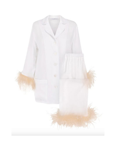 SLEEPER  2-Piece Ostrich Feather Trim Pajama Set 4.9 out of 5 Customer Rating  $320